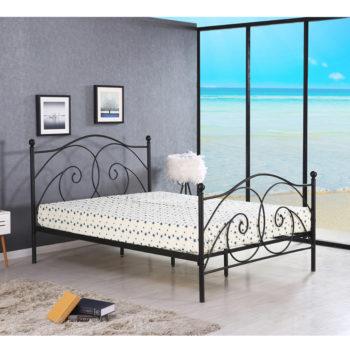 מיטת זוגית מעוצבת מברזל בגוון שחור למזרן 140×190 דגם ארגמן 140