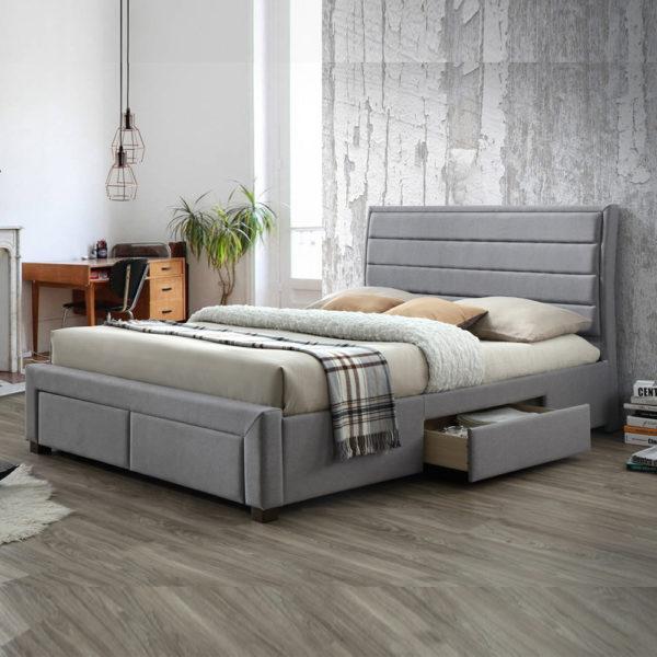 מיטה זוגית מרופדת 140x190 עם 4 מגירות אחסון דגם יולי 140