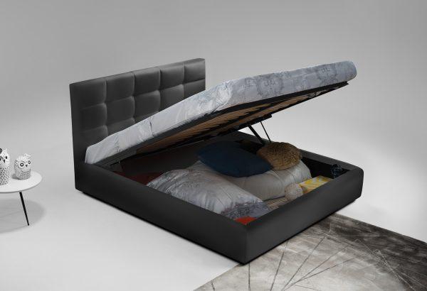 מיטה זוגית יוקרתית 180x200 בריפוד בד קטיפתי עם ארגז מצעים דגם ברוקלין 180