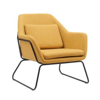 כורסא מעוצבת עם רגלי ברזל דגם ברייטון – צהוב