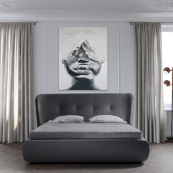 מיטה זוגית יוקרתית 160×200 בריפוד בד קטיפתי עם ארגז מצעים דגם קרולינה 160