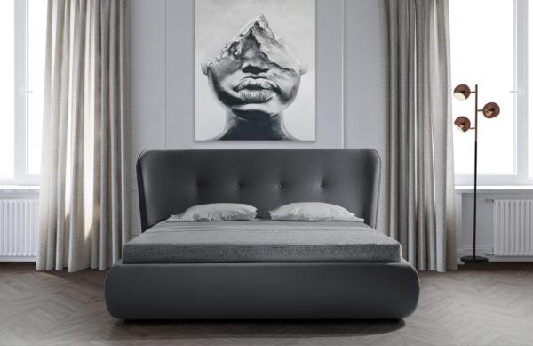 מיטה זוגית יוקרתית 160x200 בריפוד בד קטיפתי עם ארגז מצעים דגם קרולינה 160