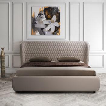 מיטה זוגית יוקרתית 160×200 בריפוד בד קטיפתי עם ארגז מצעים דגם קנדי 160