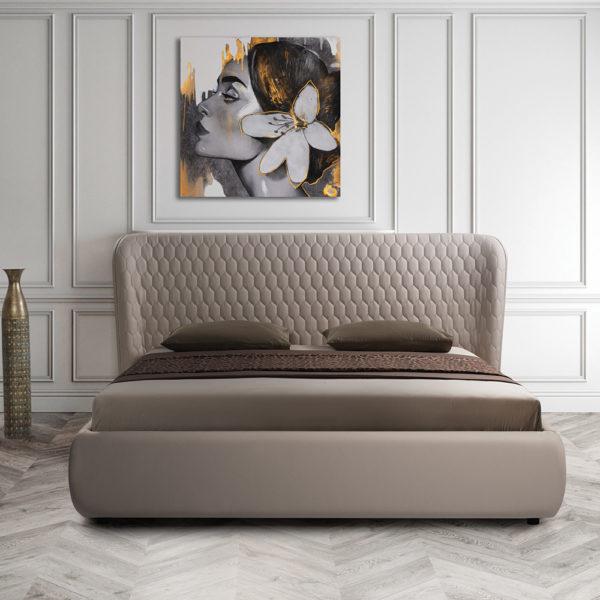 מיטה זוגית מרופדת יוקרתית 160x200 עם ארגז מצעים דגם קנדי 160