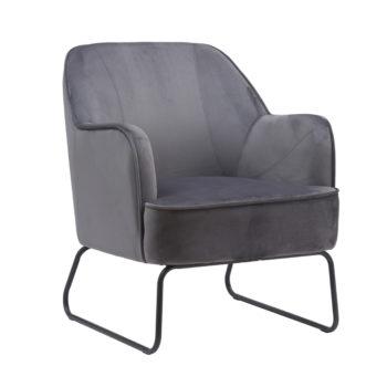 כורסא מעוצבת ונוחה עם רגלי ברזל דגם לידס-אפור