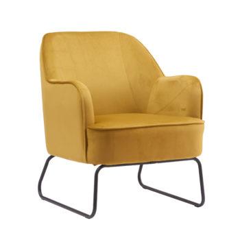 כורסא מעוצבת ונוחה עם רגלי ברזל דגם לידס – צהוב-חרדל