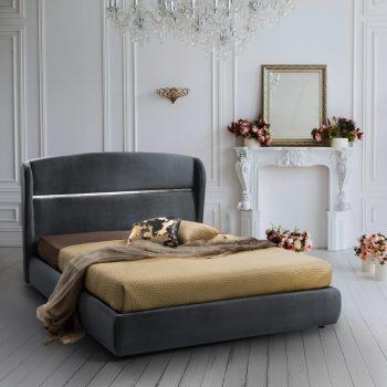מיטה זוגית יוקרתית 160×200 בריפוד בד קטיפתי עם ארגז מצעים דגם מלני 160