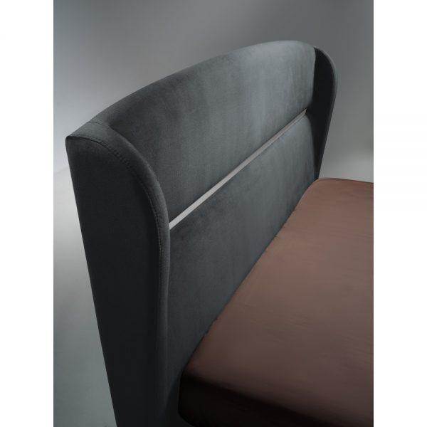 מיטה זוגית יוקרתית 180x200 בריפוד בד קטיפתי עם ארגז מצעים דגם מלני 180