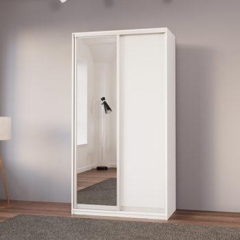 """ארון בגדים 120 ס""""מ עם דלת מראה ומגירות תוצרת אירופה דגם שגיא"""