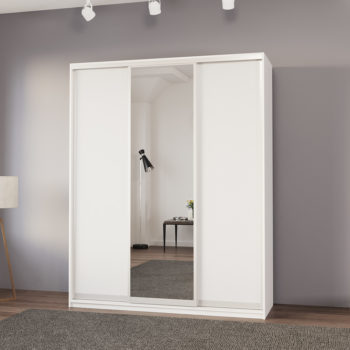 """ארון בגדים 180 ס""""מ עם דלת מראה ומגירות תוצרת אירופה דגם סיאם"""
