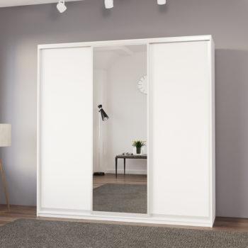 """ארון בגדים 225 ס""""מ עם דלת מראה ומגירות תוצרת אירופה דגם תמיר"""