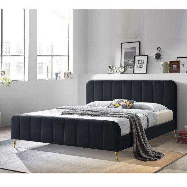 מיטה זוגית 140x190 מרופדת בד קטיפתי עם רגלי זהב דגם טייגר 140