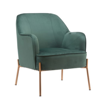 כורסא מעוצבת ונוחה עם רגלי זהב דגם יורק – ירוק-זהב