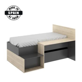 מיטת ילדים משולבת שולחן כתיבה ואחסון תוצרת ספרד דגם מרטיני אלון-אפור