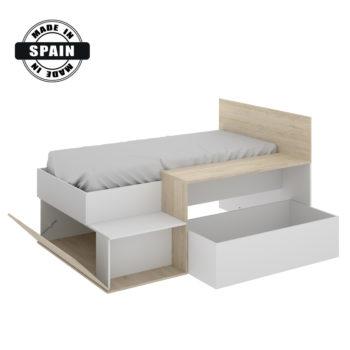מיטת ילדים משולבת שולחן כתיבה ואחסון תוצרת ספרד דגם מרטיני לבן-אלון