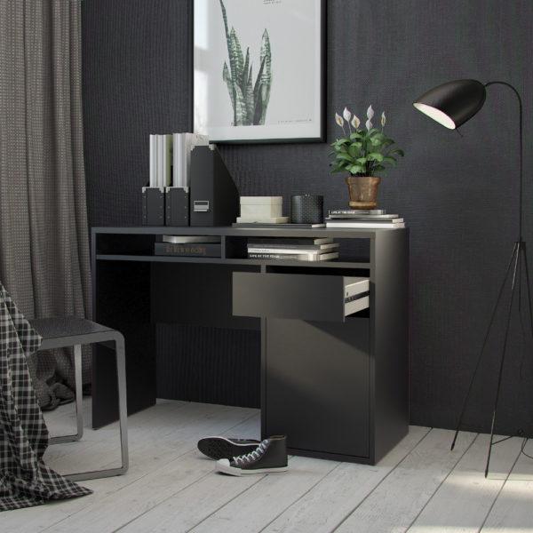 שולחן כתיבה שחור עם מגירה ותאי אחסון תוצרת דנמרק דגם מירב שחור