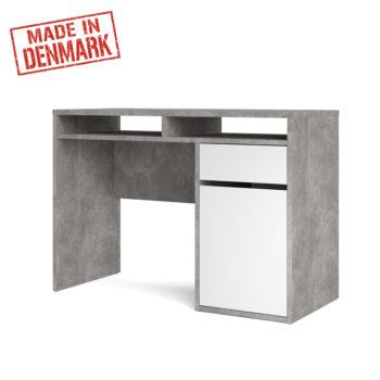 שולחן כתיבה לבן מבריק משולב בטון עם מגירה ותאי אחסון תוצרת דנמרק דגם מירב לבן-בטון