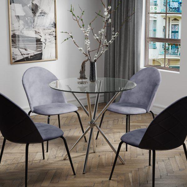 פינת אוכל עם שולחן זכוכית ו-4 כסאות מרופדים דגם לסטר-תובל