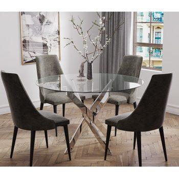 """פינת אוכל עגולה 120 ס""""מ עם 4 כסאות מרופדים דגם ונציה-ליאן"""