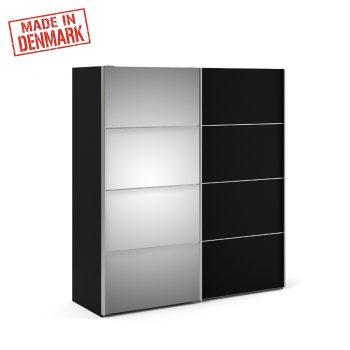 """ארון הזזה 180 ס""""מ בגוון שחור עם דלת מראה תוצרת דנמרק דגם קופנהגן"""