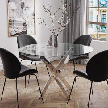 """פינת אוכל עגולה 120 ס""""מ עם 4 כסאות מרופדים דגם ונציה-אגם"""